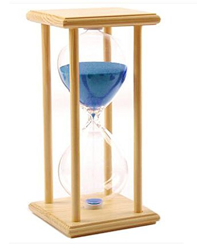 30 Minutes Hourglass Wood Sand Timer Kitchen Home Ornaments Clock Office Decor Magic Gift (30 Minute, Wooden frame blue)