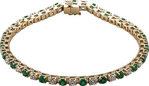 Jewels By Lux 14K Yellow Gold Emerald & 2 1/3 CTW Diamond Bracelet