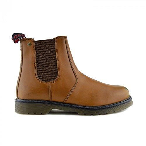 Uomo Uomo Uomo Tassello sul Pull alla Rivenditore Leather Caviglia Marrone Stivali Formale Slip Chelsea YRqrnY1fW