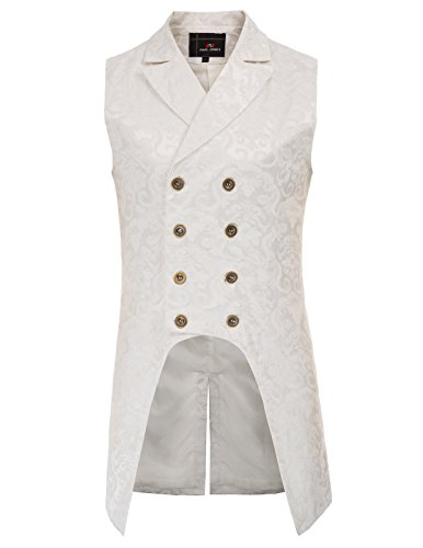 PAUL JONES Mens Victorian Steampunk Waistcoat Gothic Vest Lapel Collar PJ81-2 L Beige