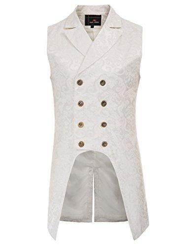 Bianco Pauljones Uomo Vintage Steampunk Giacca Coat Retro Gothic Da Jacquard qHwav4qp
