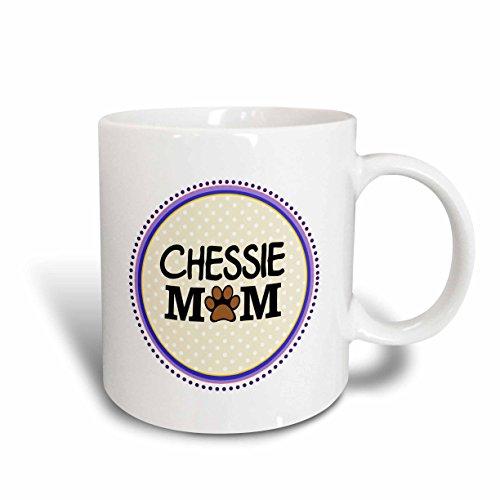 3dRose mug_151717_1 Chessie Dog Mom Chesapeake Bay Retriever Love Doggie Mama by Breed Paw Print Mum Doggy Lover Ceramic Mug, 11-Ounce