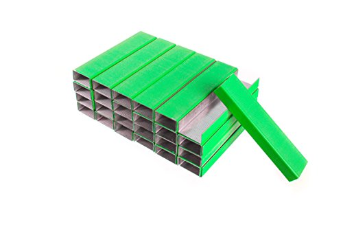 PraxxisPro Colored Staples, Green, Standard Size Chisel Point Staples, 5 Box Value Pack (25000 (5 Green Boxes)