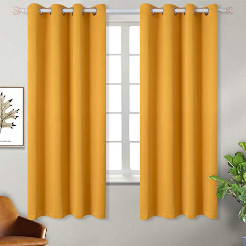 BGment Blackout Curtains for Bedroom - Grommet Thermal Insulated Room Darkening Block Out Curtains for Living Room, Set of 2 Panels (52 x 63 Inch, Mustard Yellow) (Curtains Golden Yellow)