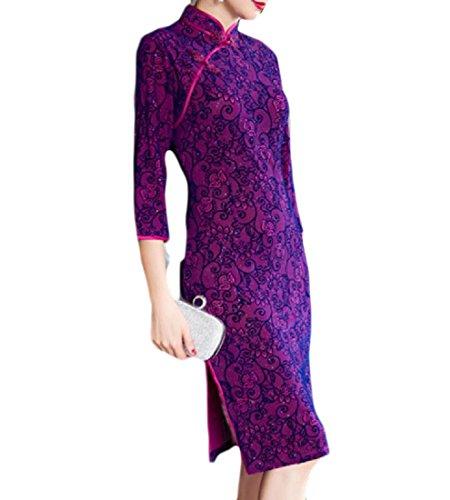 Chinese Floral Rock Dress Evening Velvet Cheongsam Print Pattern1 Women Coolred Elegant pgOxPwY
