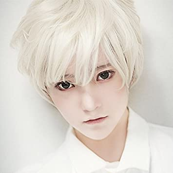 Amazon.com : Blue-gray color with white hair entire top-dress men ...