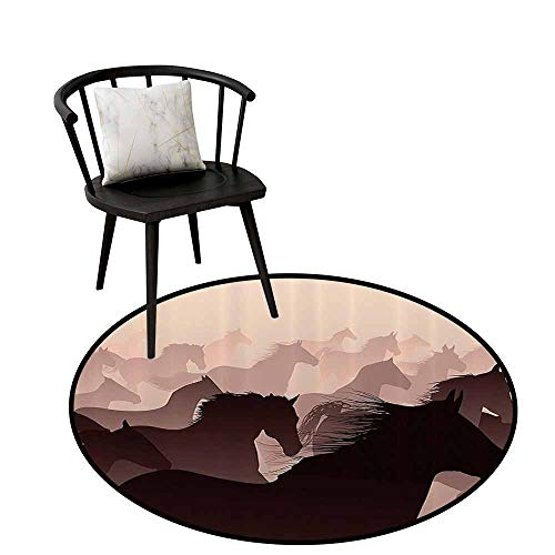 Modern Round Rug Wildlife Decor Can be Folded Equestrian Reflection of Running Horses Race Champion Sports Hobby Graphic Pink Wine D16(40cm)