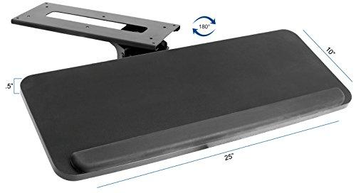 VIVO Adjustable Computer Keyboard & Mouse Platform Tray Ergonomic Under Table Desk Mount Drawer ...