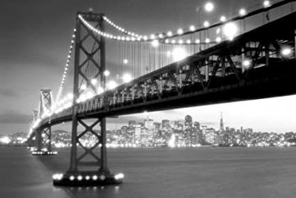 Pyramid america san francisco gate bridge in black and white photography poster print
