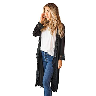 Tickled Teal Women's 3/4 Sleeve Lace Trim Casual Wrap Cardigan Coverup Outerwear Sweater at Women's Clothing store