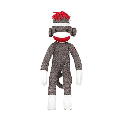 Plushland Adorable Brown Sock Monkey, The Original Traditional Hand Knitted Stuffed Animal Toy Gift-for Kids, Babies, Teens, Girls and Boys Baby Doll Present Puppet 20 Inches