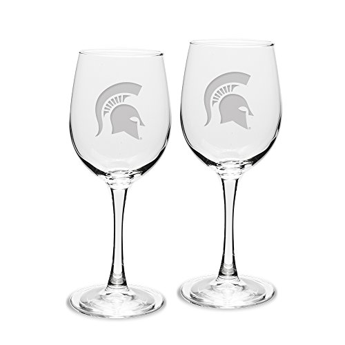 Spartans Adult Set of 2 - 12 oz White Wine Glasses Deep Etch Engraved, One Size, Clear ()