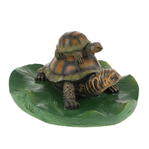 Fityle 14 Kinds Animal Ornament Water Floating Turtle Frog on Lotus Leaf Figurine Creative Resin Green Plants Kid Toys Fountain Decoration Garden Decor - 4 Light Brown Family, as described by Fityle
