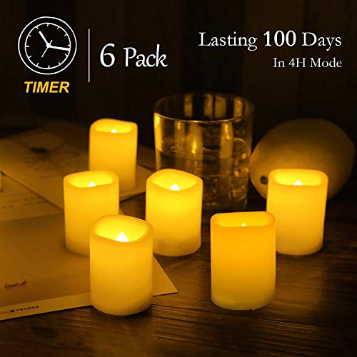 """Beichi Set of 6 Remote Control Votive Candles Battery Operated, Flameless Flickering Tealight Candles, LED Timer Tea Lights in Amber Yellow Flame, Unscented Outdoor Electric Candles, D1.5""""x2""""H"""