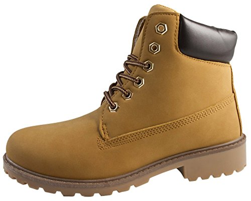 Lora Dora Kids Faux Leather Worker Ankle Boots Honey