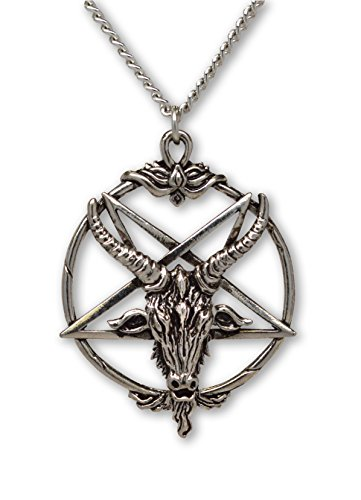 (Baphomet Inverted Pentacle Silver Finish Pewter Goat Head Pendant Necklace)