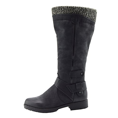 Kick Zip Riding up Low Wide Footwear Boots Heel Winter Elastic Women's Shaft Shoes Black Block rnzZrxYXq