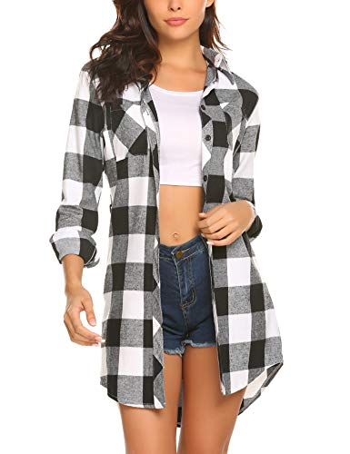 Plaid Shirt Dresses Belted - HOTOUCH Women's White Black Long Sleeve Button Up Plaid Belted Tunic Shirt Dress, White Black, Medium