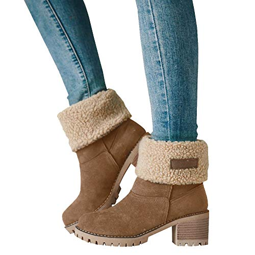 Athlefit Women's Winter Snow Boots Warm Suede Chunky Heel Fur Ankle Boots Size 9 Khaki
