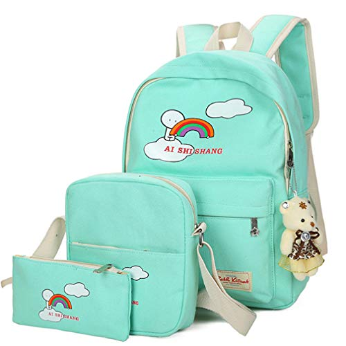 Sets W12cm Bear Rose H38cm Backpack Backpacks 3Pcs Green Pink L29cm Cartoon Printing School Girls PqWdB
