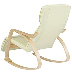 Best Choice Products Birch Bentwood Cushioned Rocking Chair w/Adjustable Leg Rest (Cream)