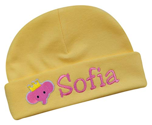 ersonalized Embroidered Baby Girls Keepsake Hat with Pink Elephant from (Yellow Hat) ()