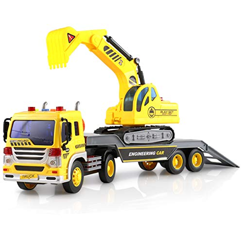 FEROXO Friction Powered Flatbed Truck with Excavator Tractor - Push and Go Construction Toy for Kids with Lights and Sounds - Realistic 1:16 Scale Design ()