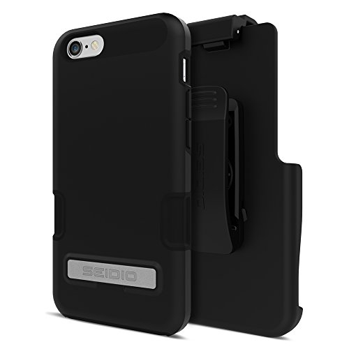 Seidio DILEX Pro Case with Metal Kickstand and Holster Combo for iPhone 6 - Retail Packaging - Black