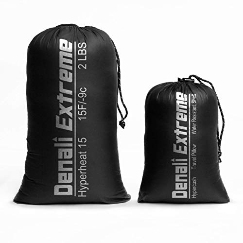 Denali Extreme Down Sleeping Bag and Pillow – Reg Price 189 – for Backpacking, Camping Hyperheat 15 Degree F Ultralight Ultra Compact Down Filled 3 Season Men s and Women s Lightweight Mummy Bag