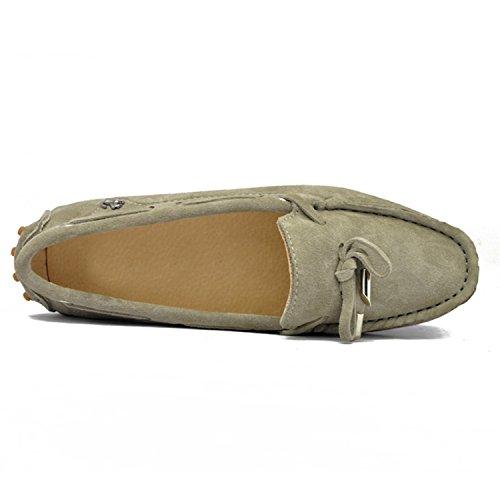 Minitoo - Mocasines para para mujer, estilo Casual, ante, con lazo gris
