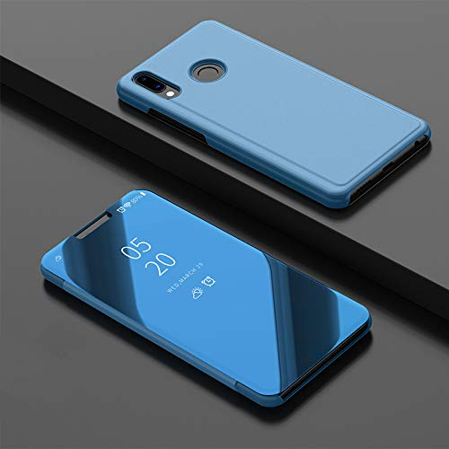 Custodia® Mirror Plating Clear View Stand Function Flip Case for Huawei Y9  2019 (Sky Blue)