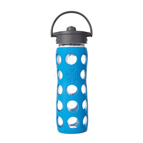 Price comparison product image Lifefactory 16-Ounce BPA-Free Glass Water Bottle with Straw Cap and Silicone Sleeve, Ocean