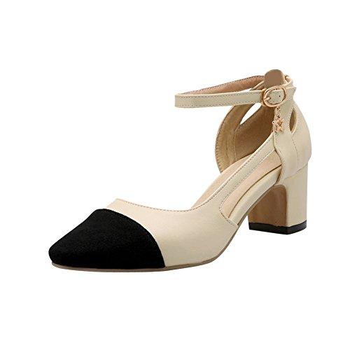 Carolbar Donna Ufficio Lady Cinturino Alla Caviglia Fibbia Punta A Punta Colori Assortiti Sandali Medio Tacco Medio Beige