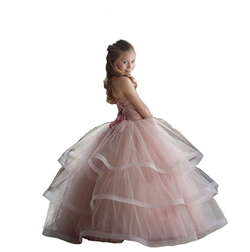 Banfvting Pale Pink Princess Graduation Gown Little Girls Spaghetti First Communication Dress Kids Adorable (12) by Banfvting (Image #1)