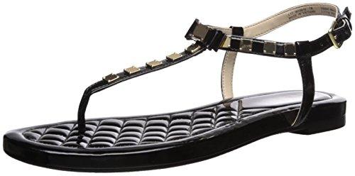 Cole Haan Women's TALI Mini Bow Studded Sandal, Black Patent, 8 B US