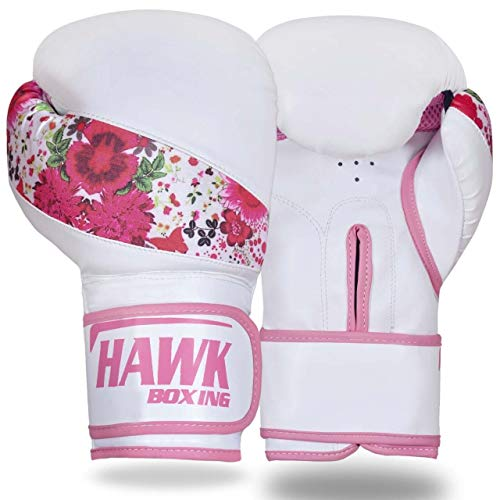 Hawk Pink Boxing Gloves Ladies Women's Flowers Girls Leather Training Gloves Bag Gloves Mitts Muay Thai Kick Boxing Gloves (White, 8oz) (Muay Thai Girl)