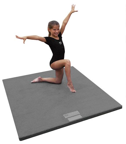 4'x6'x2'' Dollamur Flexi-Roll Carpeted Cheer/Gymnastics Mat-Charcoal Gray