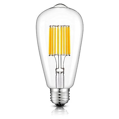CRLight LED Edison Bulb 10W 2700K Warm White 1000LM, 100W Equivalent E26 Medium Base, ST64 Vintage LED Filament Bulbs, 360 Degrees Beam Angle, (100watt Edison Light Bulbs)