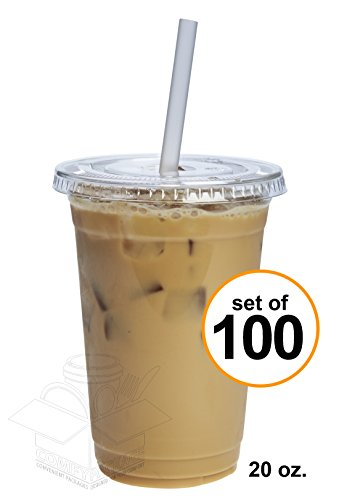 COMFY PACKAGE 100 Sets 20 Oz. Plastic CRYSTAL CLEAR Cups with Flat Lids for Cold Drinks, Iced Coffee, Bubble Boba, Tea, Smoothie (Clear Plastic Cold Cups)