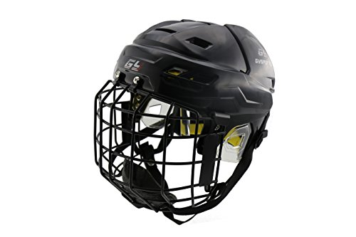 In Line Hockey Helmets (GY PP Ice Hockey Helmet Vented Design Cooling System Wiht Cycle Adjustment Pro Hockey Equipment Cage Mask Combo (Black))