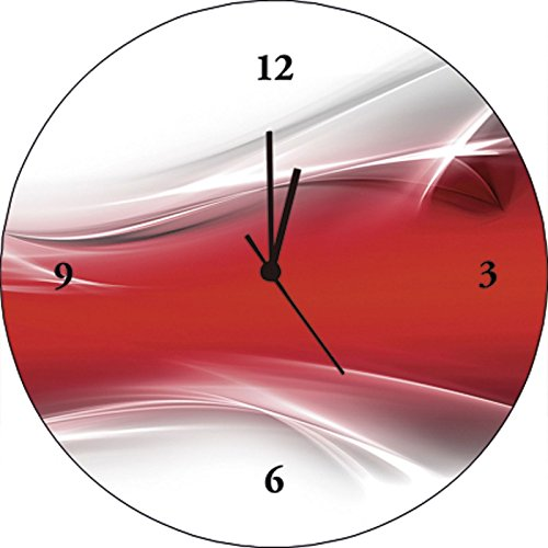 Artland Qualitätsuhren I Funk Wanduhr Designer Uhr Glas Funkuhr Größe: 35 Ø Gegenstandslos Rot I8NB