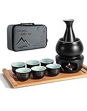 Keramisk sake-set + värmare kruka bambubricka, säker för spishäll traditionell japansk keramik varm Saki-dryck, 10 delar inkluderar 1 spis 1 värmeskål 1 sakeflaska 1 bricka 6 kopp + sakeförvaring presentförpackning (svart)