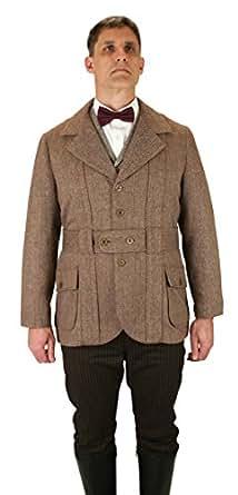 Historical Emporijm Men's Wool Blend Herringbone Tweed Norfolk Jacket 3X Brown