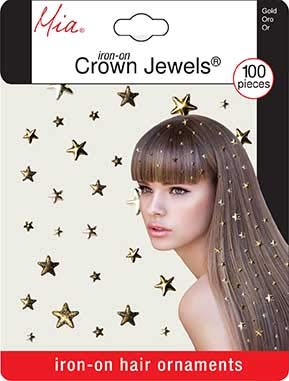 Mia Crown Jewels, Hair Accessories, Hair Jewelry, Iron-on Gold Stars, for Women and Girls 100pcs