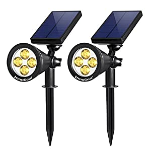 InnoGear Upgraded Solar Lights 2-in-1 Waterproof Outdoor Landscape Lighting Spotlight Wall Light Auto On/Off for Yard Garden Driveway Pathway Pool (Warm White Light)