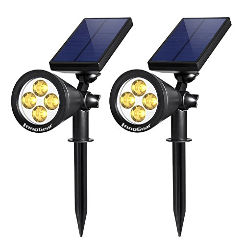 InnoGear Upgraded Solar Lights 2-in-1 Waterproof Outdoor Landscape Lighting Spotlight Wall Light Auto On/Off for Yard Garden Driveway Pathway Pool, Pack of 2 ( Warm ()
