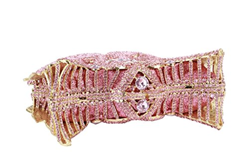 Diamonds Evening Clutch Women's Yilongsheng Pink with Swan Crystal Double Bags Shiny PzpxqxH