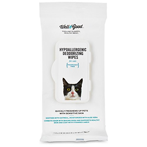 Well & Good Hypoallergenic Deodorizing Cat Wipes, Pack of 100 Wipes, 100 CT