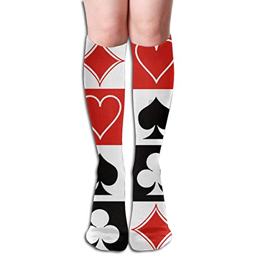 Grid Poker Playing Cards Cotton Crew Dress Socks, Athletic Hiking Socks, Non Slip Thermal Socks for Work Trekking Soccer, Knee-High Compression Sock Boot Sock (Nuclear Playing Cards)