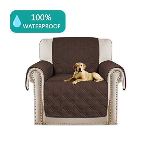 Turquoize Real Waterproof Dog Couch Chair Cover Quilted Sofa Slipcover with Back Nonslip Paws Machine Washable Couch Cover for Pets and Kids(Chair 75